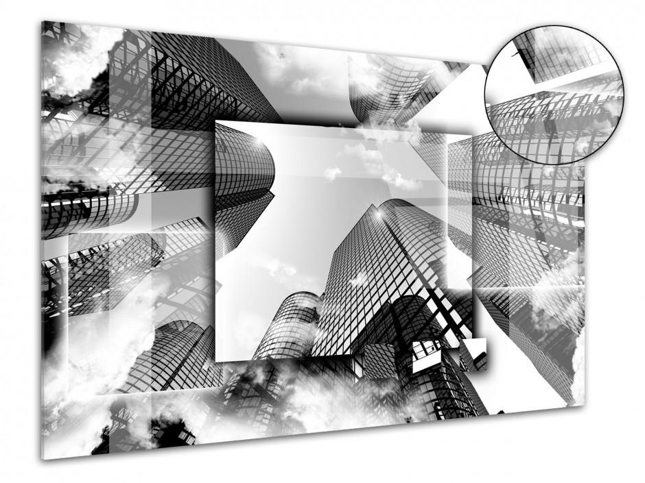 Cadre plexiglas moderne Bulding Noir et Blanc