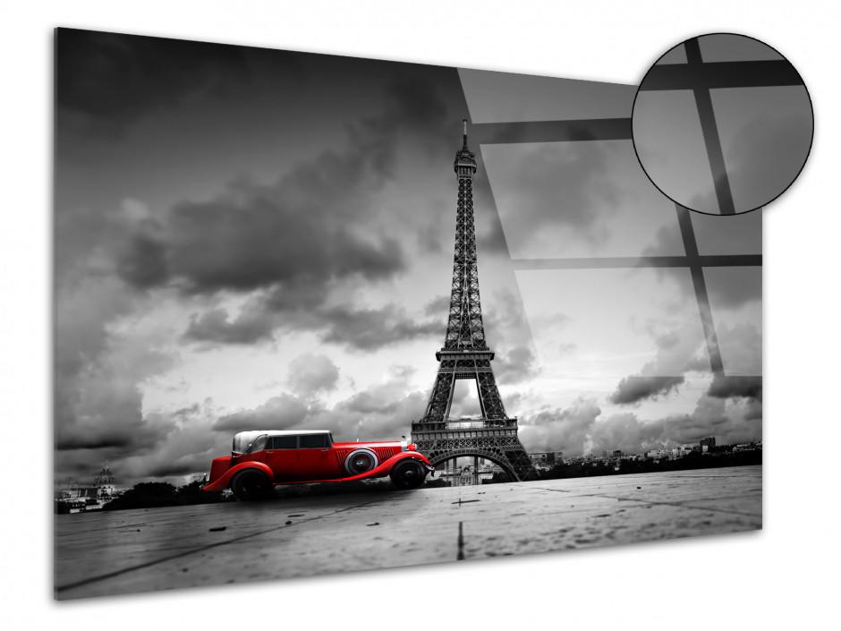 Tableau plexiglas deco Tour Eiffel et Vieille Voiture