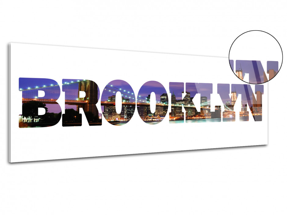 Tableau plexiglas deco lettrage Brooklyn