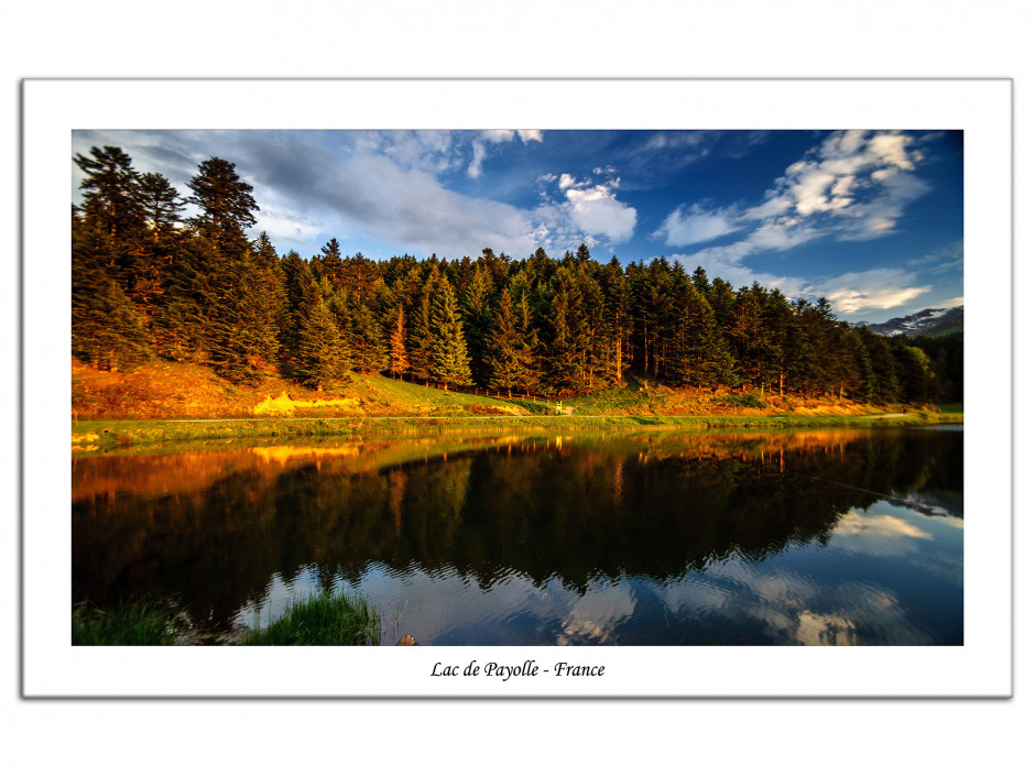 Tableau plexiglas moderne paysage lac de Payolle