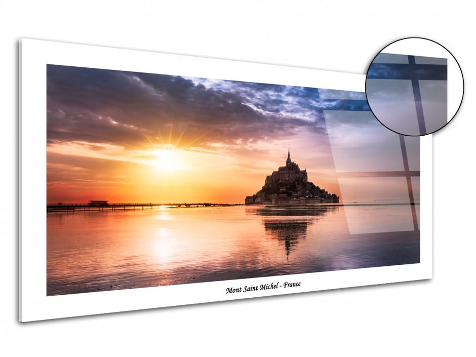 Tableau plexiglas Coucher de Soleil sur le Mont Saint Michel