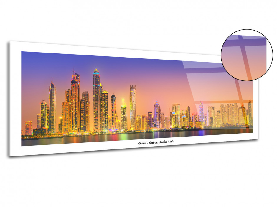 Tableau plexiglas photo panoramique DUBAI SUNSET