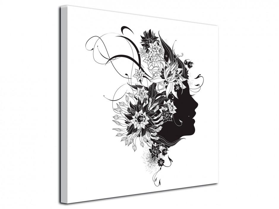 Tableau décoratif moderne sur toile Visage Noir et Blanc