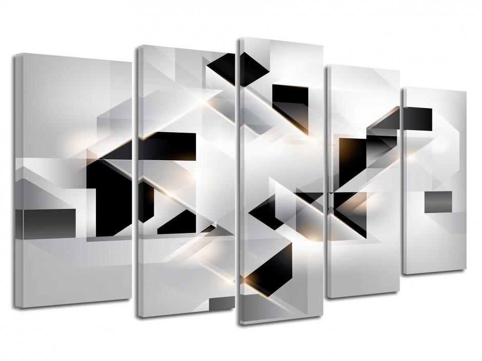 Tableau déco abstrait les cubes Noir et Blanc