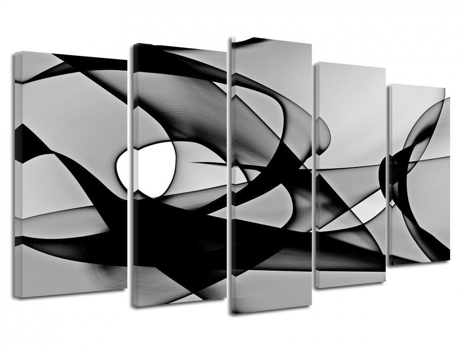 Tableau abstrait Quintyque lignes Noir et Blanc