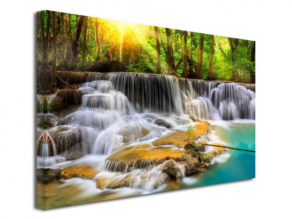 Tableau toile déco paysage cascade en forêt