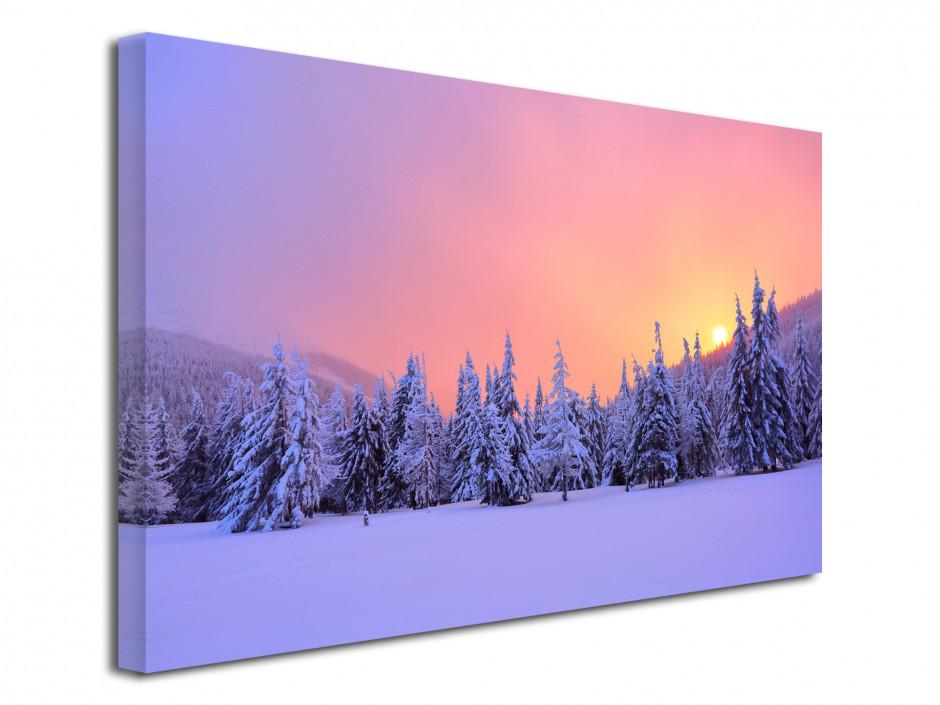 Tableau toile paysages forêt enneigé au levé du soleil