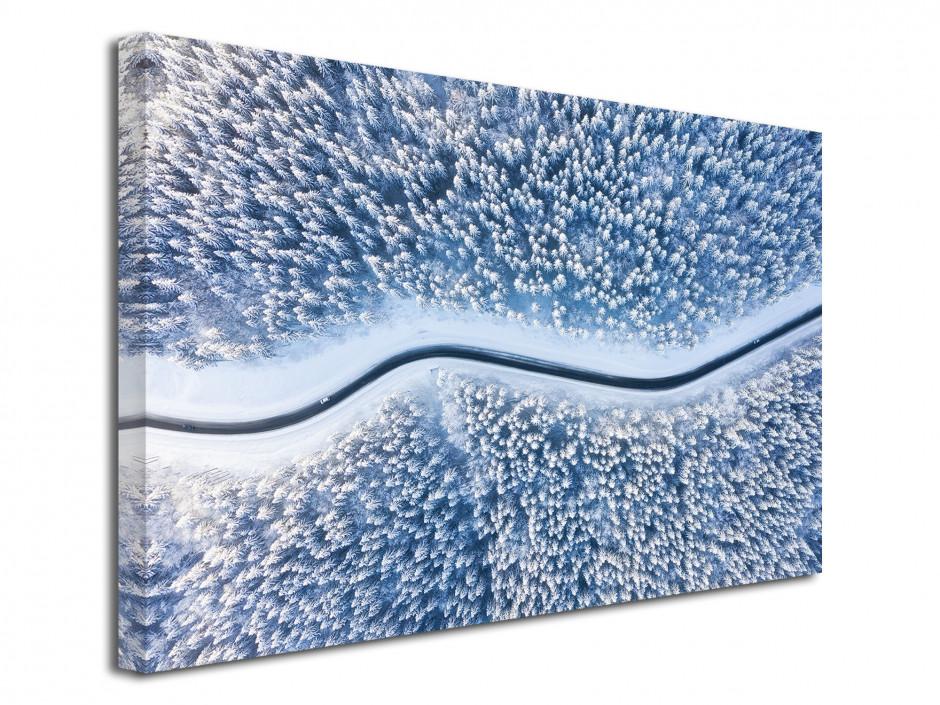 Tableau toile photographie aérienne forêt enneigé