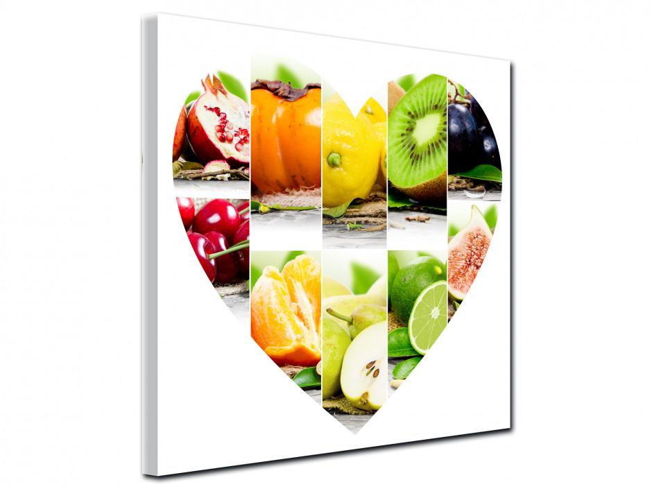 Tableau toile Les fruits en forme de Cœur