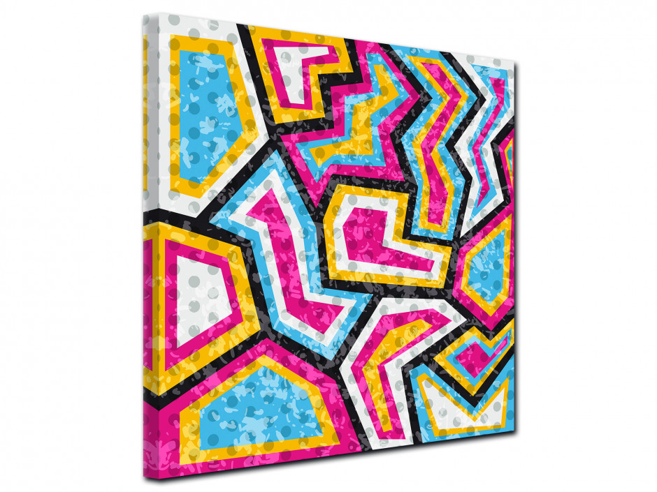 Tableau sur toile dessin contemporain coloré