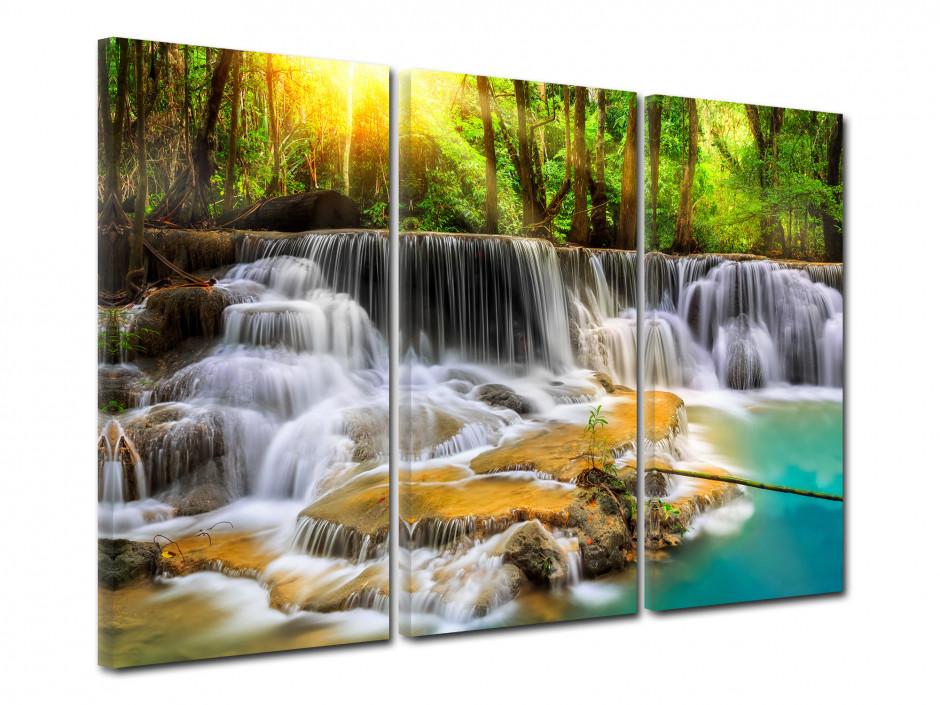 Tableau triptyque cascade en forêt