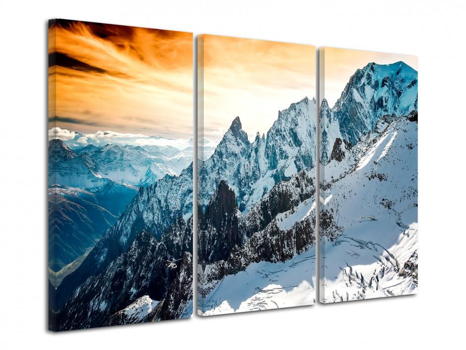 Tableau toile triptyque montagne des Alpes