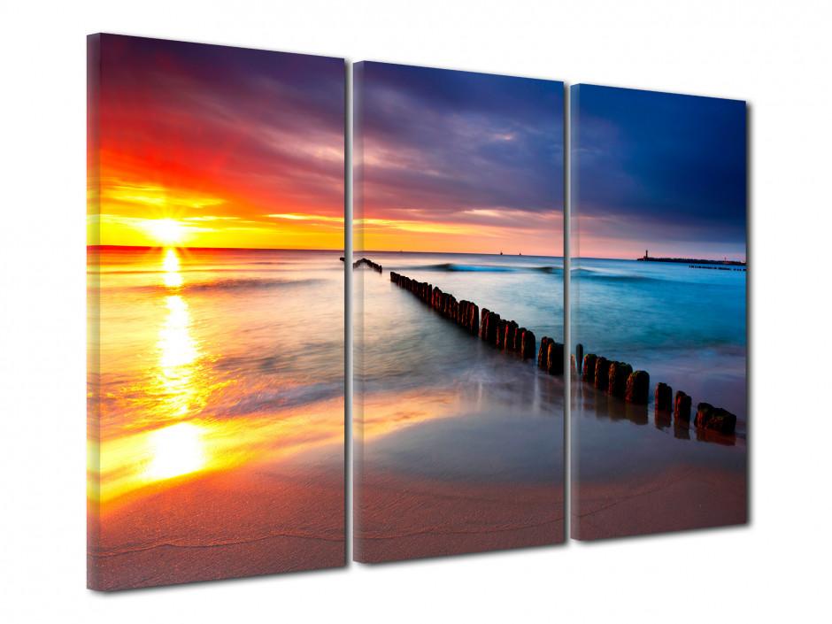 Tableau triptyque coucher de soleil sur la plage