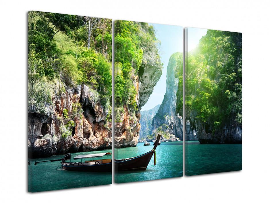 Tableau triptyque paysage de Thailande