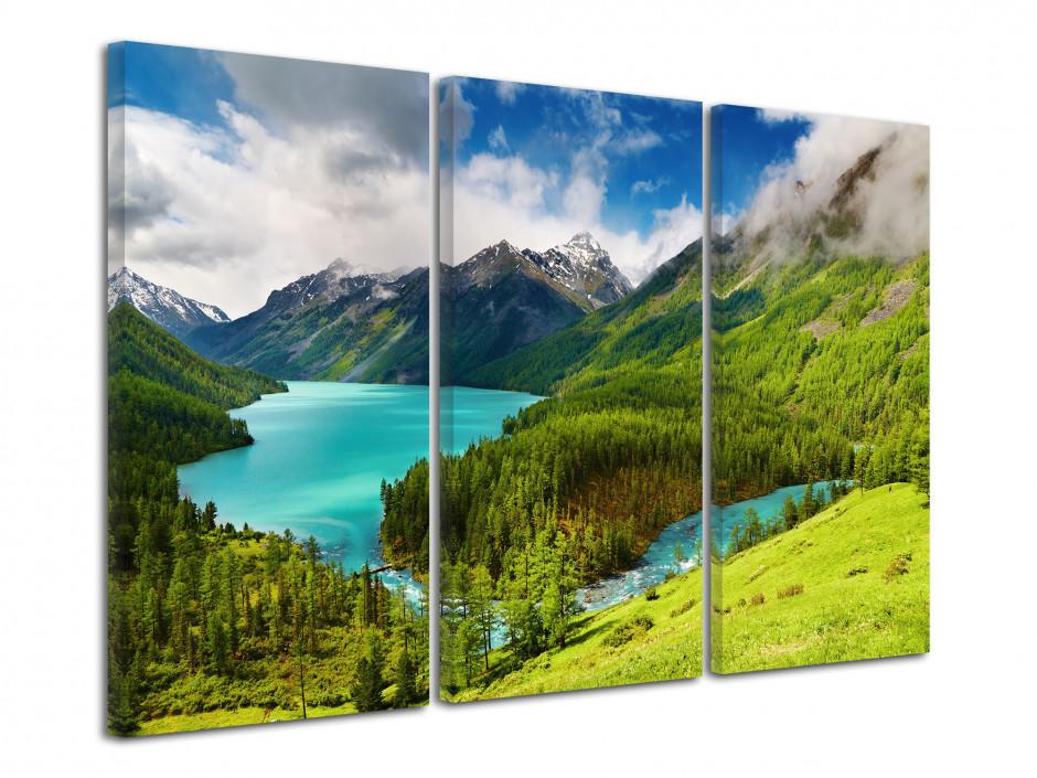 Tableau décoratif triptyque paysage de montagne