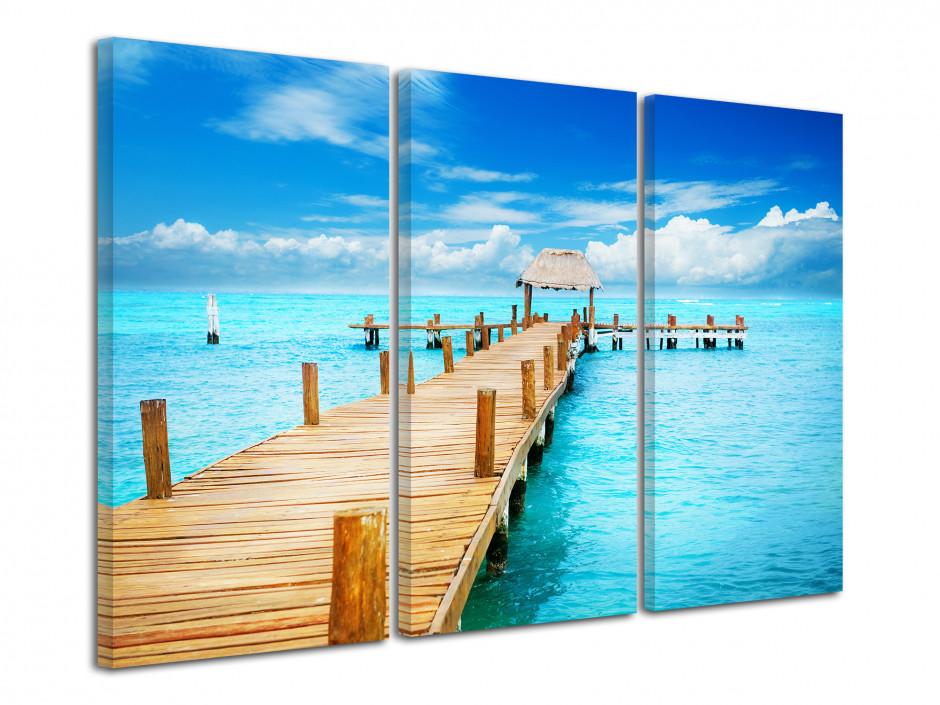 Tableau triptyque paysage ponton sur mer azur