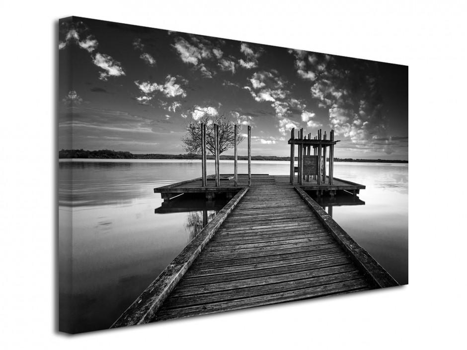 Tableau toile déco paysage ponton noir et blanc
