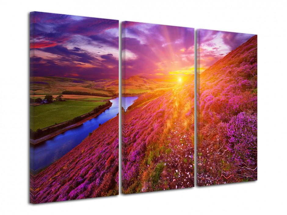 Tableau triptyque magnifique paysage coloré
