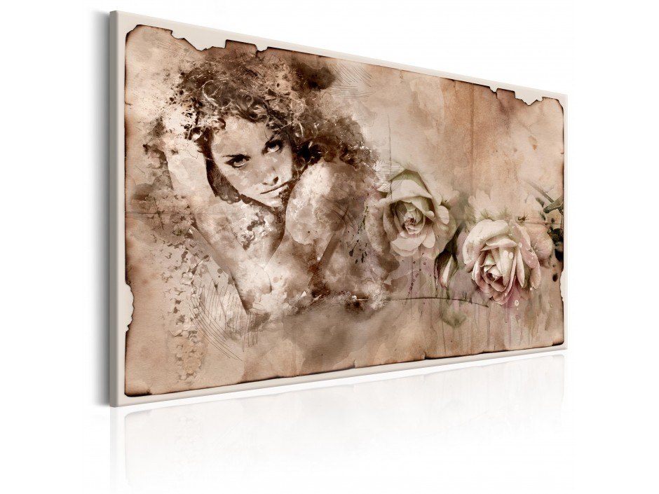 Tableau  Retro Style Woman and Roses