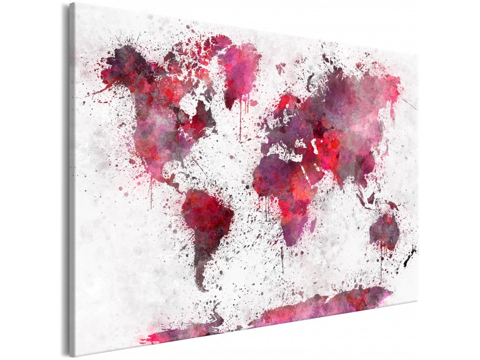Tableau  World Map Red Watercolors (1 Part) Wide