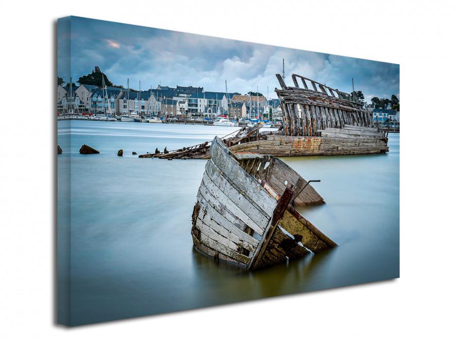 Tableau photo sur toile cimetière de bateaux Etel