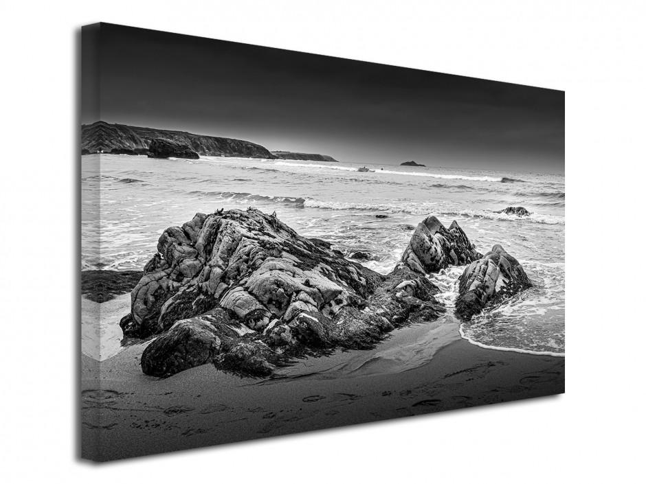 Tableau toile photo plage et rocher en noir et blanc