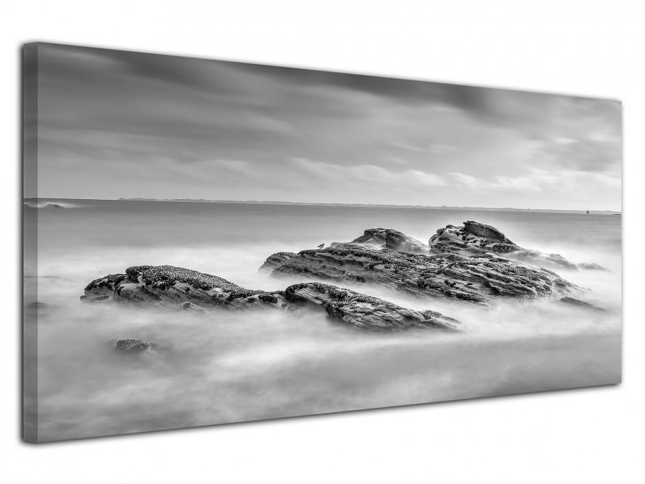 Tableau photo sur toile Plage Bretagne Noir et Blanc