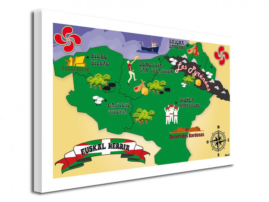 Tableau toile illustration Carte du Pays Basque