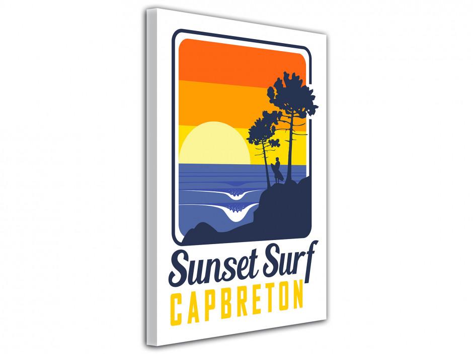 Tableau toile Illustration Sunset Surf Capbreton