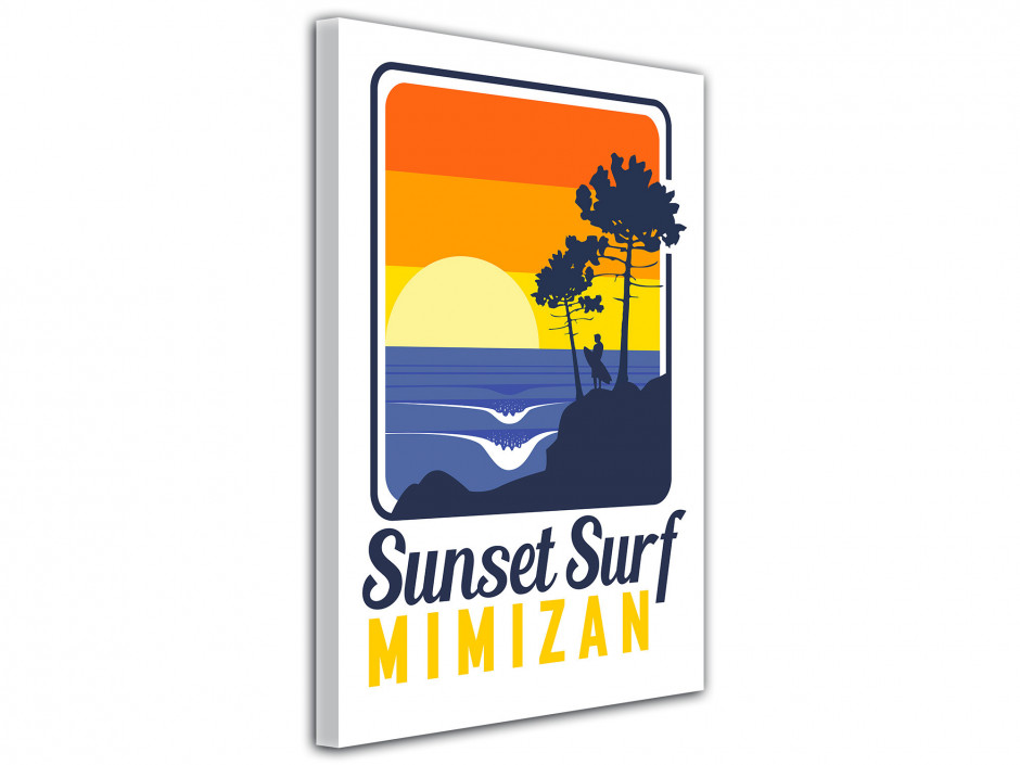 Tableau toile Illustration Sunset Surf Mimizan