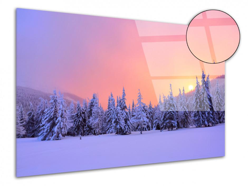 Tableau plexiglas paysages forêt enneigé au levé du soleil