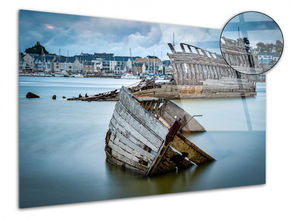Tableau photo sur plexiglas cimetière de bateaux Etel