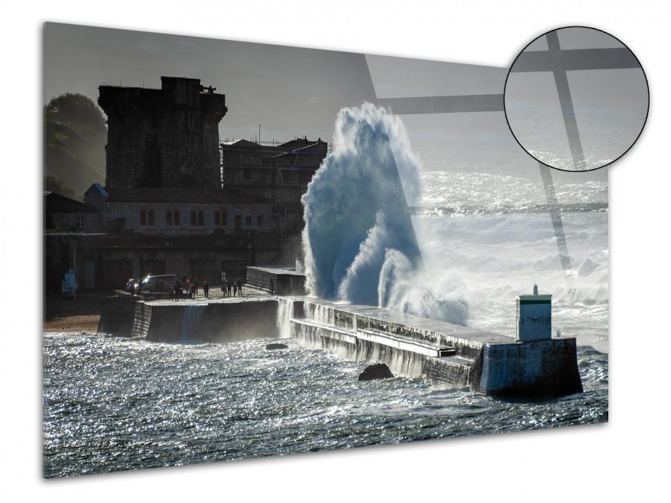Tableau photo sur plexiglas tempête sur Socoa Pays Basque