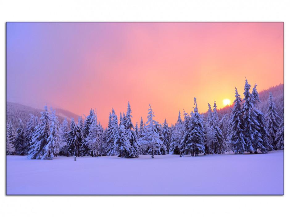 Tableau aluminium paysages forêt enneigé au levé du soleil