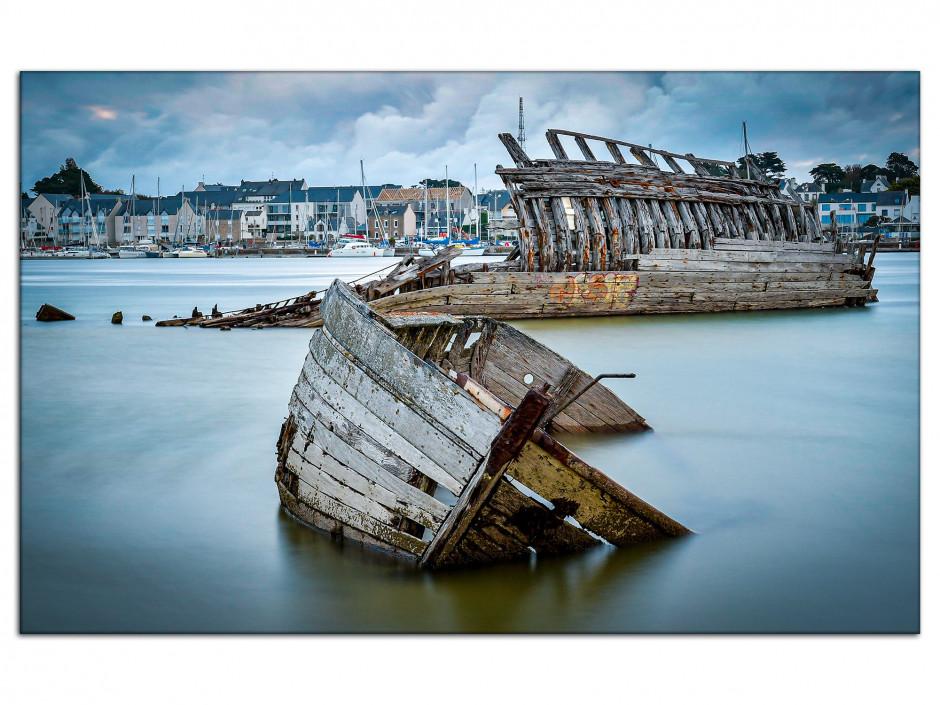 Tableau photo sur aluminium cimetière de bateaux Etel