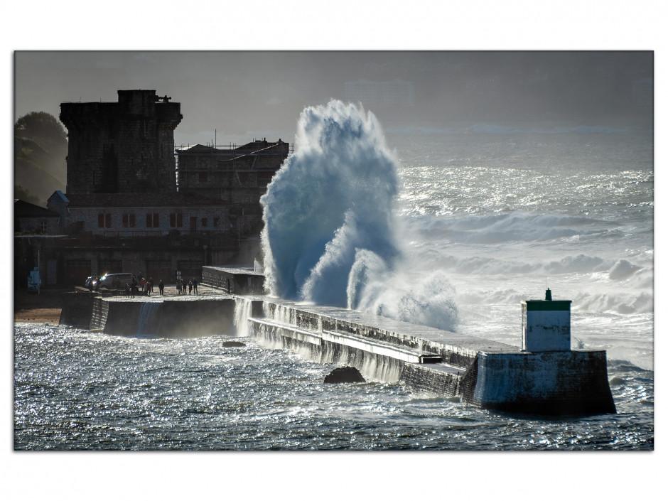 Tableau photo sur aluminium tempête sur Socoa Pays Basque