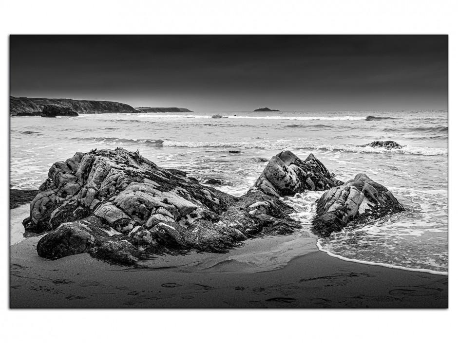 Tableau aluminium photo plage et rocher en noir et blanc