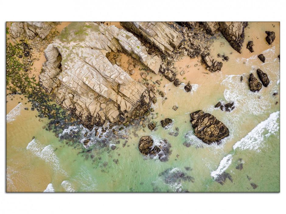 Tableau aluminium les falaises de Quiberon vu du ciel