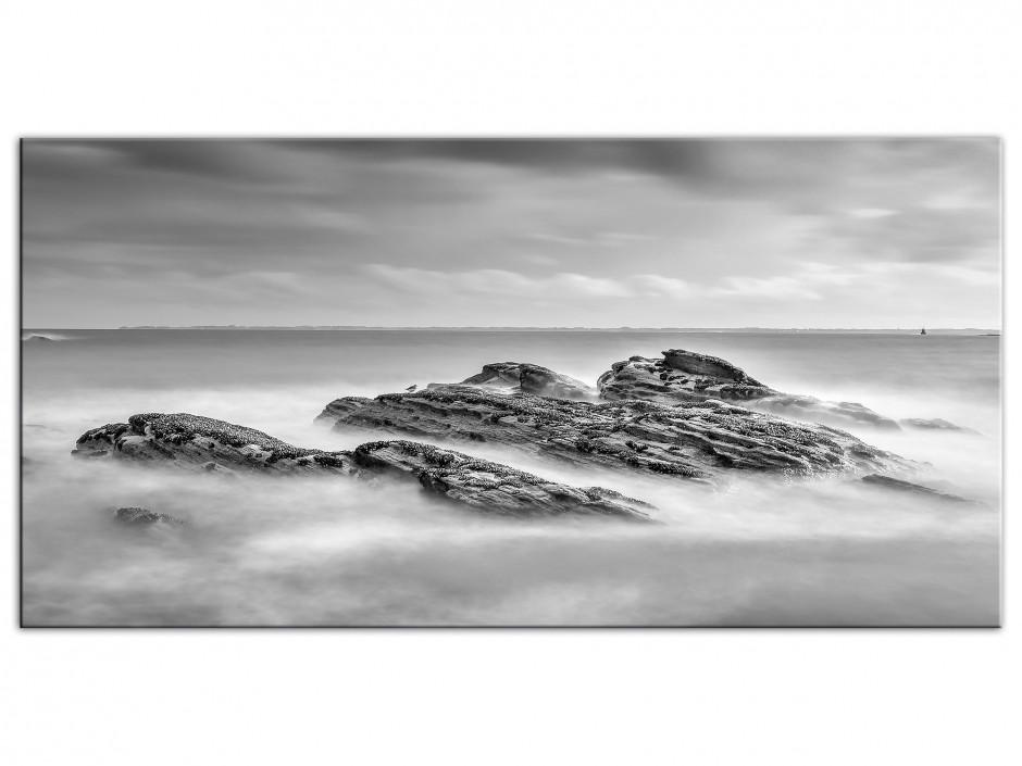 Tableau photo sur aluminium Plage Bretagne Noir et Blanc
