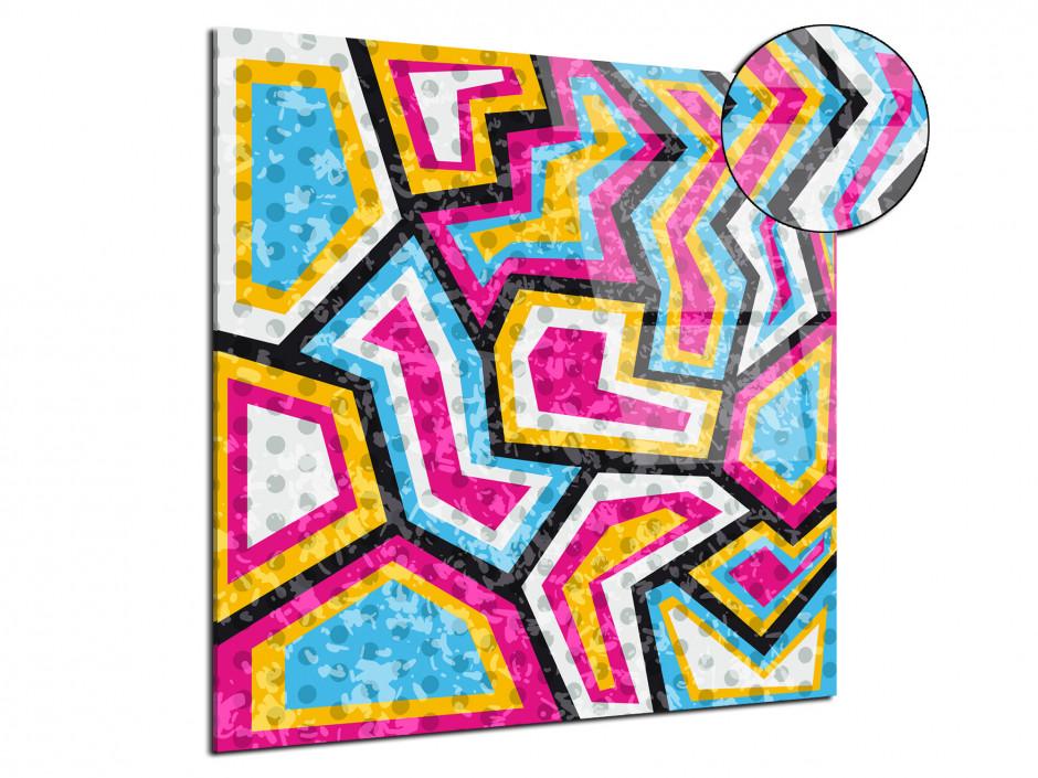 Tableau sur plexiglas dessin contemporain coloré