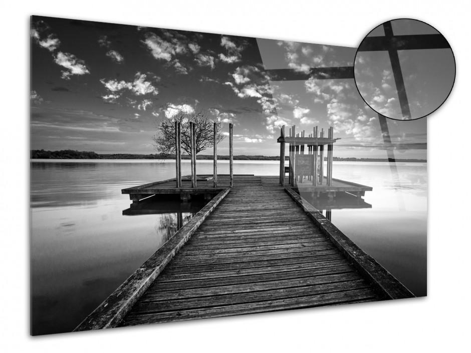 Tableau plexiglas déco paysage ponton noir et blanc