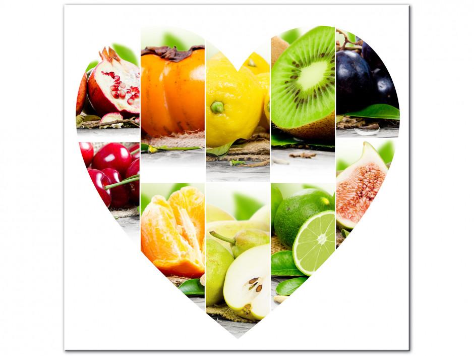 Tableau aluminium Les fruits en forme de Cœur