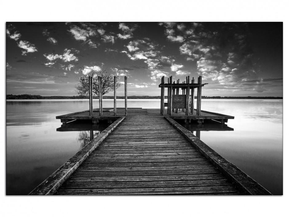 Tableau aluminium déco paysage ponton noir et blanc