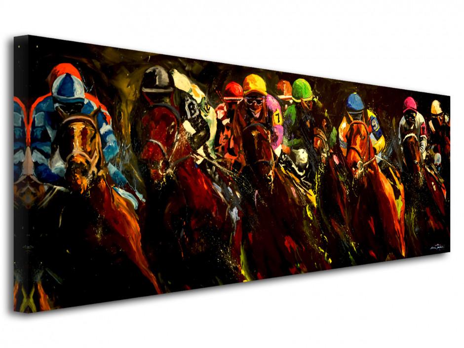 Tableau toile imprimée horses race