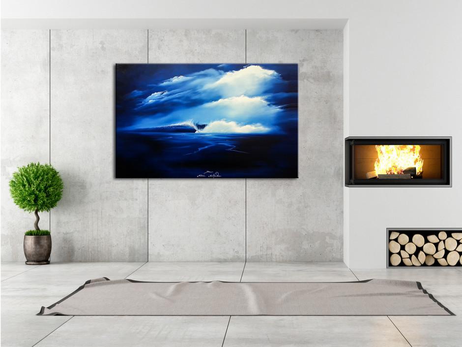 Tableau décoratif sur toile imprimée Perfect Wave série limitée peinture Rémi Bertoche