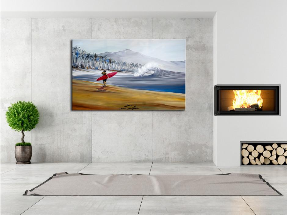 Tableau Red Single reproduction peinture Rémi Bertoche sur toile imprimée