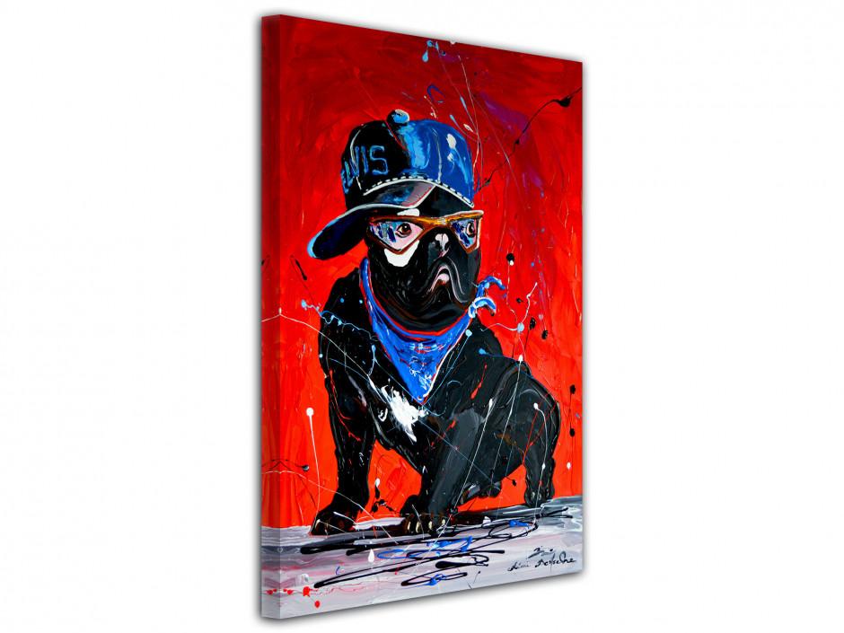 Tableau Rémi Bertoche rock'n roll dog reproduction sur toile