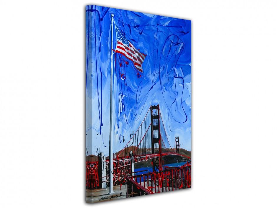Tableau décoratif US flag peinture reproduction sur toile imprimée
