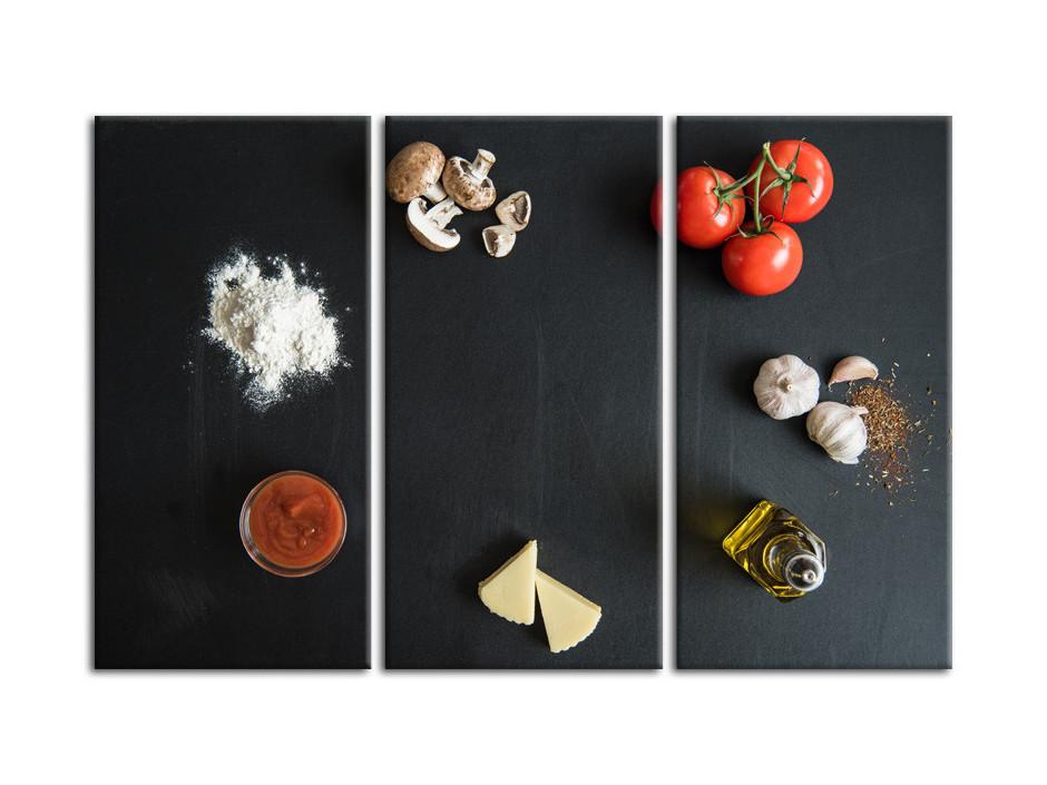 Tableau moderne triptyque ingredients de cuisine