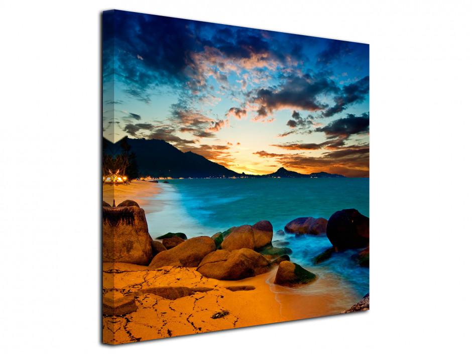 Cadre photo paysage coucher de soleil sur la plage